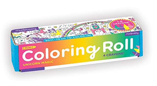 """Mudpuppy Magic Mini Coloring Roll – Continuous Coloring Paper Roll Measuring 5.5"""" x 30"""" – 4 Crayons Included, Perfect Travel Activity for Kids Ages 3 to 12, Multicolor"""