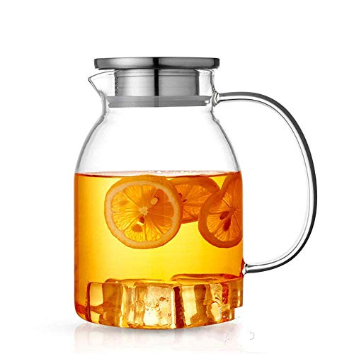HJYSQX 1.2 L/Liter Carafe, Juice jug with Lid, Water Bottle Pitcher-Free, Glass Jar, Water Decanter - BPA Free, Glass jug and Water Carafe, Tea jug spout (Single Pot, no Cup)