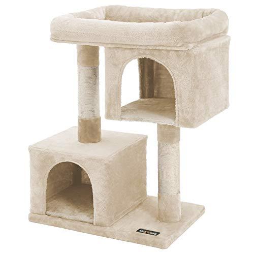 FEANDREA Kratzbaum mit Großer Plattform und 2 Plüschhöhlen Spielhaus, Kletterbaum für Katzen Beige PCT61M