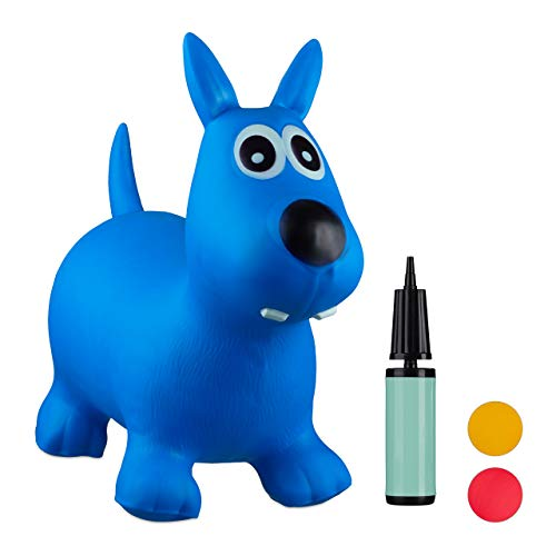 Relaxdays- Saltador Hinchable Perro para Niños hasta 50 Kg sin BPA, Plástico, Color azul, 50 x 26 x 60 cm (10024990_45) , color/modelo surtido