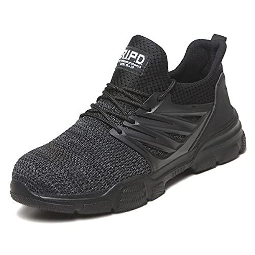 Aingrirn Zapatos de Seguridad Hombre Mujer Ligero Transpirable Zapatillas de Trabajo con Punta de Acero Botas de Soldador (Color : Black, Size : 47 EU)