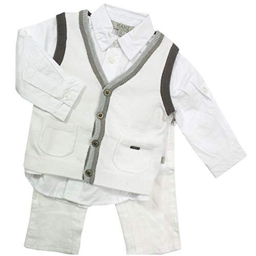 Kanz Festlicher Jungen 3-teiliger Anzug Hemd, Strickweste & Hose Gentle Boys, Weiß, Gr. 104