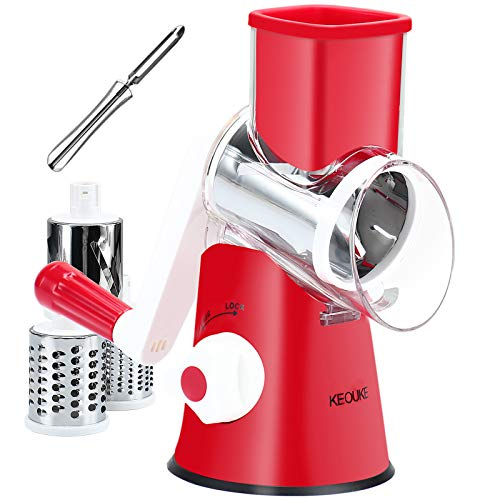 KEOUKE Rotary Cheese Grater Handheld  Nut Chopper Grinder Salad Shooter Vegetable Slicer with a Stainless Steel peeler Red