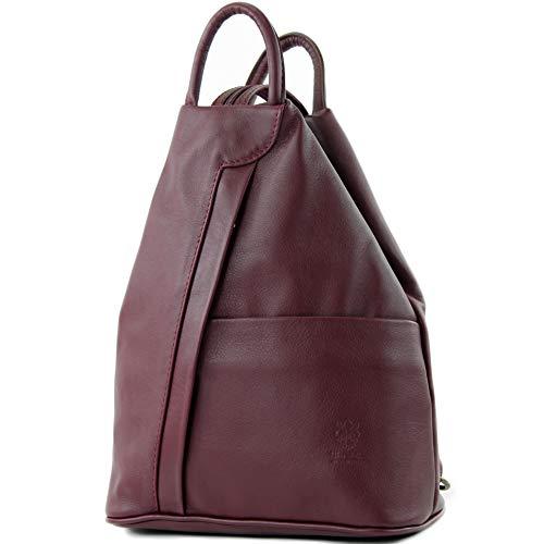 modamoda de - T180 - ital Damen Rucksack Tasche Nappaleder, Farbe:Bordeauxrot