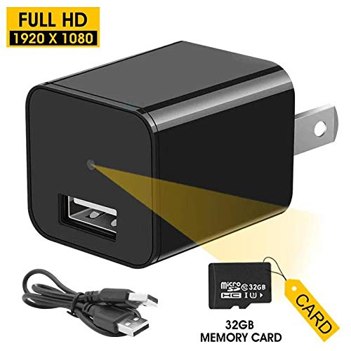 USB Spy Hidden Camera Charger | Mini Hidden Spy Camera Recorder Full HD 1080P Video with TF Card and Motion Detection | Portable Surveillance Camera | Indoor Security Nanny Cam NO Wi-Fi