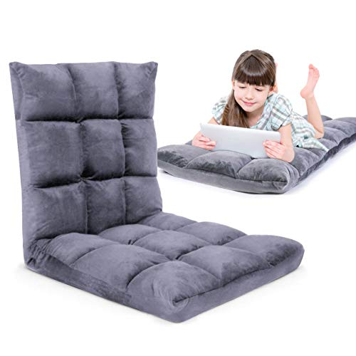 Gaming Floor Sofa Adjustable Chair for Adults & Kids – Comfortable Foam Seat & Removable Lounger Cover – Transformable Folding Sleeper Lounge Features 14 Reclining Positions from Flat to 90°,(Gray)