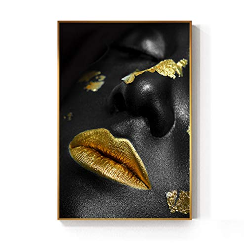 mmzki Art Poster Black Golden African Woman Lips Cuadros Pintura al óleo sobre Lienzo Carteles e Impresiones Scandinavian Wall Art Picture Home Decor No Frame