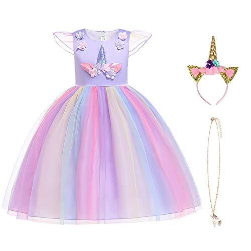 URAQT Mädchen Einhorn Cosplay Party Hochzeit Prinzessin Kleid 130CM, Lila
