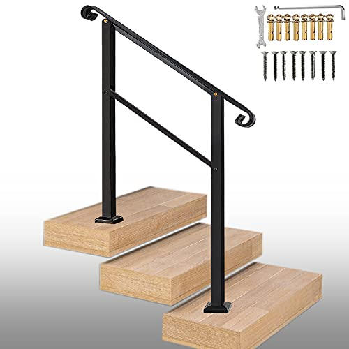ATYOUK Outdoor Stair Railing,Black Wrought Iron Handrail,3 Step Transitional Handrail Metal Adjustable Outdoor Handrails for Exterior Steps with Installation Kit,Handrail with Installation Kit