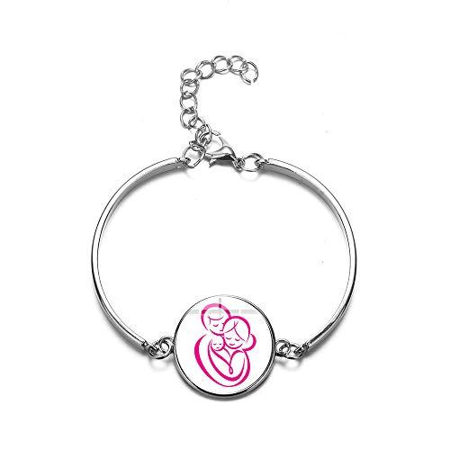Pulsera de cristal hecha a mano con símbolo de la madre del bebé, cadena de eslabones de aleación de cabujón, pulsera femenina, amor de la familia, regalos del día de la madre