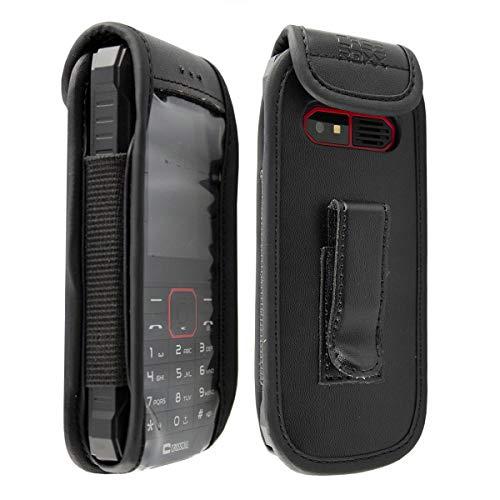 caseroxx Hülle Ledertasche mit Gürtelclip für Crosscall Spider X4 aus Echtleder, Tasche mit Gürtelclip & Sichtfenster in schwarz