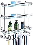 WECDS Estante de baño para baño, toallero, de acero inoxidable, para colgar en la pared (tamaño: 40 cm)
