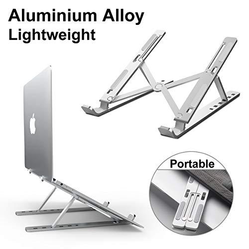 DOB SECHS Portable Laptop Stand, Foldable Ventilated Desktop Laptop Holder, Universal Lightweight Space-Save Adjustable Ergonomic Tray Mount for MacBook/HP/Notebook/Samsung/Huawei, Silver