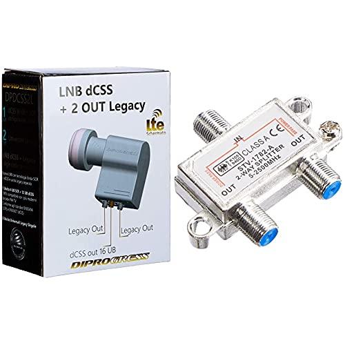 Diprogress Lnb Dcss 2 Uscita Legacy Convertitore 16Ub & 6233 - Splitter Satellitare 2 Vie, Partitore Antenna Tv Da Interno Con Connettore F, Splitter Satellitare