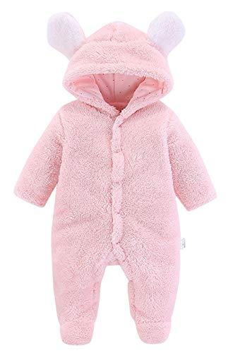 Cloud Kids Baby Overall mit Kapuze Footies Strampler Winter Tierkostüm Pyjamas Jumpsuit Schlafanzug Pink Größ 80