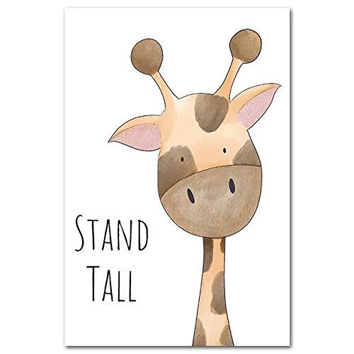 LiMengQi2 Impression Peinture Animal Hippopotame Girafe Singe Lion Affiche Photo sur Toile Enfants décoration de la Maison Chambre de bébé (sans Cadre)