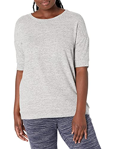 Marca Amazon - Daily Ritual - Jersey cómodo de punto y con manga corta para mujer, Gris Heather, US S (EU S - M)