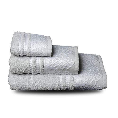 NORA HOME Juego de Toallas Puntilla 100% algodón 3 Piezas (Gris/Blanco)