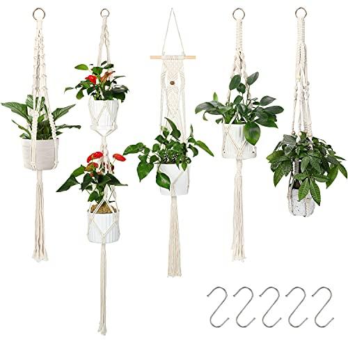 Xddias Colgante de Plantas Maceta, 5Pcs Macetero Macrame Pared Interior con Ganchos, Cuerda Tejido Manual para Macetas Jardín Decoraciones