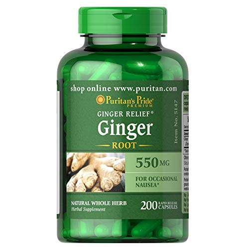 Ginger Root by Puritan's Pride®, Supports Digestive Health*, 550 Mg, 200 Rapid Release Capsules