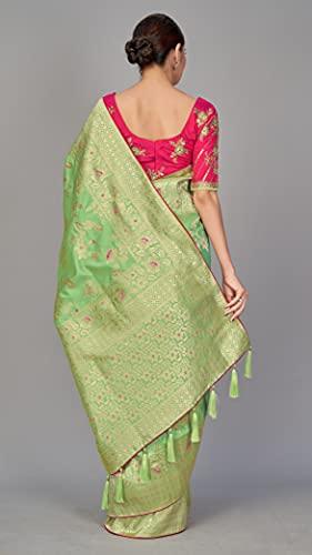 Monjolika Fashion Women's Banarasi Silk Blend Saree With Unstitched Blouse Piece (37769_Green)