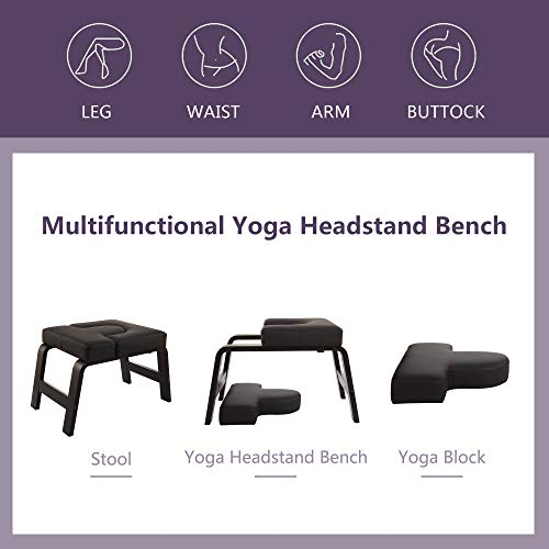 Restrial Life Yoga Headstand Bench- Stand Yoga Chair for Family, Gym - Wood and PU Pads - Relieve Fatigue and Build Up Body (Dark Black)
