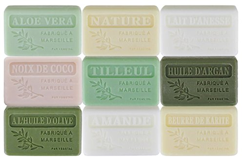 Lot de 9 savons de Marseille parfums doux crémeux