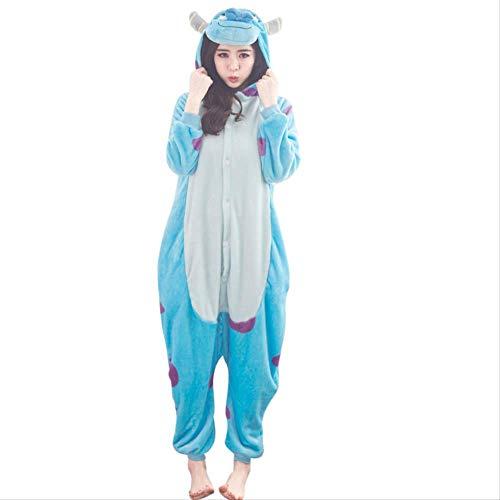 AYJMA Pijamas Onesie Mujer Monster Cartoon Pijamas Kigurumi Pijamas Ropa de Dormir para Navidad Cosplay Disfraz M Sullivan Onesies
