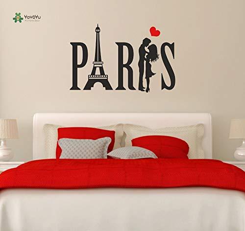 Wandtattoo Jugendliche Vinyl Wandaufkleber Paris Paar Eiffelturm Liebe Herz Raumdekoration 57X90cm