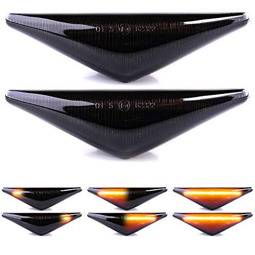 LIGHTDELUX Ersatz für LED Blinker Seitenblinker Blinkleuchte Kotflügel-Blinker DYNAMISCH links rechts ohne Fehlermeldung mit E4-Prüfzeichen Black Vision V-1707089LG