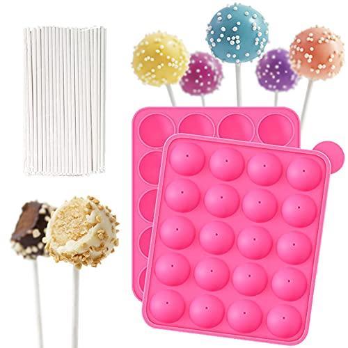 DIY-Lutscher-Formen-Set, Silikonform für Cake Pops, mit 12-Loch-Kuchen-Pop-Form+100 Cake Pop-Sticks, ideal für Harte Süßigkeiten, Lutscher,Schokolade, Cake Pop und Party Cupcake,rosa