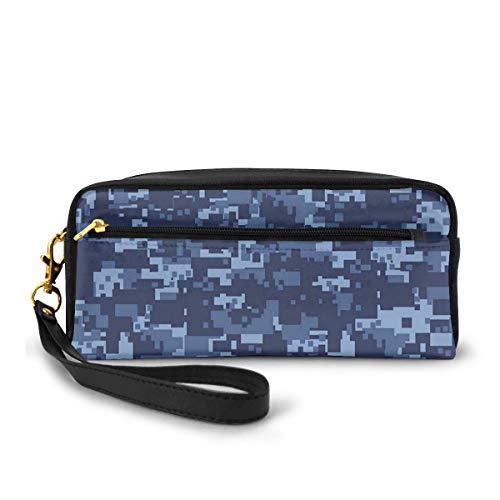 Pencil Case Pen Bag Pouch Stationary,Militaristic Digital Effected Armed Forces Pattern Grunge Fashion in Blue,Small Makeup Bag Coin Purse