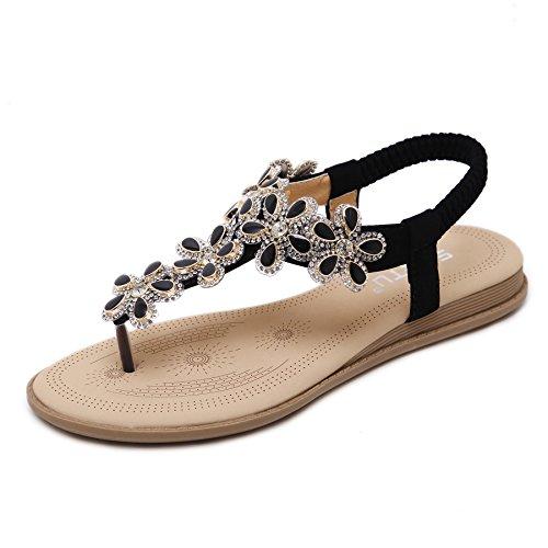 Meeshine Womens Rhinestone Sandals Summer Beach Flat Dress T-Strap Shoes Black 9 US