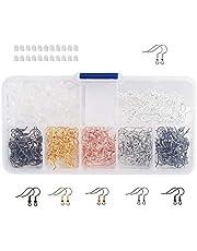 Naler Örhänge krokar örontrådar fiskkrokar + 200 st gummiörhänge bakstycken med diverse låda för gör-det-själv-smycken att hitta hantverk smyckestillverkning 180 st (6 färger)