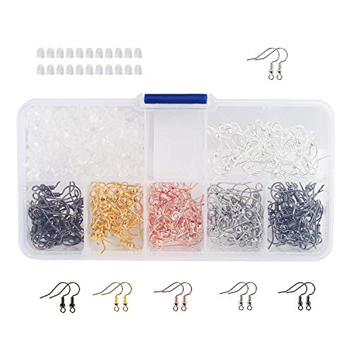 Naler - Ganchos para pendientes, alambres de oreja, ganchos de pescado + 200 piezas de alzapaños de goma con caja surtida para bricolaje, joyería, manualidades, bisutería, 180 piezas (6 colores)