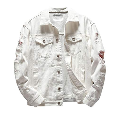 Uqiangy Men's Autumn Winter Casual Long Sleeve Turn-Down Collar Solid Denim Jacket Coat(White,S)