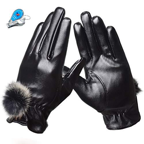 KXF Thermo-Winterhandschuhe für Damen, PU-Leder, Touchscreen, Winddicht, kältebeständig, mit Fleece gefüttert, Damen, Schwarz mit Fellball, Einheitsgröße
