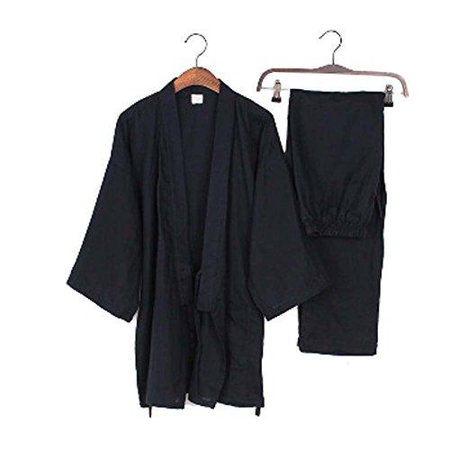 Panda Legends Herren Kimono Lose Atmungsaktive Baumwolle Doppel Gaze Pyjama Anzug Yukata Trainingsanzug, Asiatische L