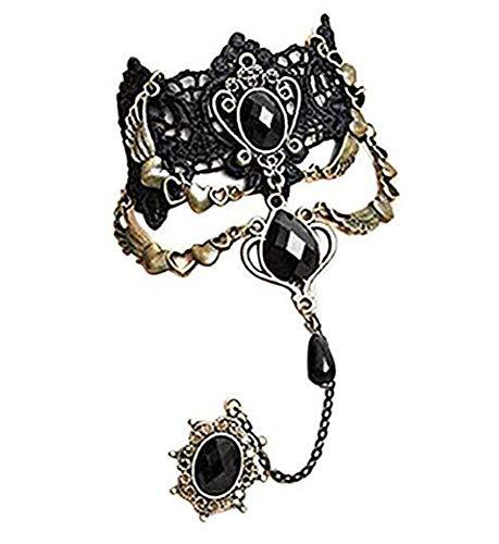 Aeromdale Schwarz Strass Spitze Armband Retro Gothic Stil Vampir Sklave Armreif Fancy Hand Kette Kostüm #3