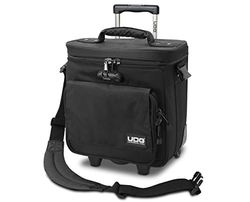 UDG Ultimate Trolley To Go Black Borsa con Trolley porta vinili con maniglia a scomparsa, Nera