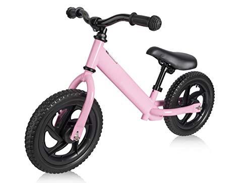 Elifano Bicicleta sin pedales a partir de 3, 4, 5, 6 años, bicicleta de equilibrio de 11 pulgadas, bicicleta deportiva con marco de acero, manillar ajustable y asiento para niños (rosa)