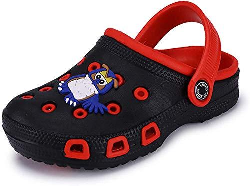 Ciabatte Bambino Zoccoli Bambini Pantofole da Giardino da Spiaggia Clogs Scarpe da Piscina Estate,509 BlackRed 24