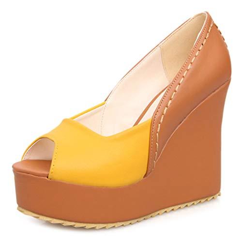 Mediffen Damen Ohne Verschluss Peep Toe Mode Hohen Keilabsatz Plateau Pumps Zweifarbig Frühjahr Sommer Party Schuhe Gelb Gr 39 EU/40Asiatisch