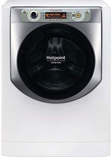 Hotpoint AQ107D 49D IT, Lavatrice a Carica Frontale a Libera Installazione, A+++-40%, 10kg, 1400 Giri/Min, Bianco/Argento