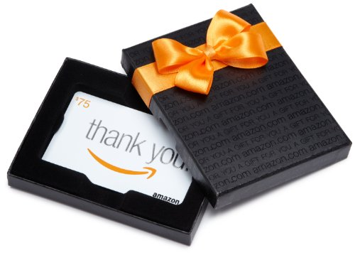 Amazon.com $75 Gift Card in a Black Gift Box (Classic Thank You Card Design)