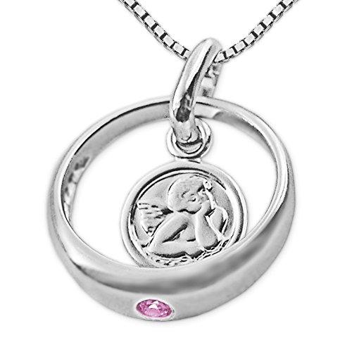 CLEVER SCHMUCK Set Silberner Taufring Ø 12 mm Engel rund mit Zirkonia rosa und Kette Venezia 36 cm glänzend Sterling Silber 925 für Mädchen