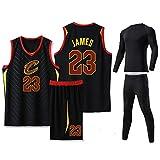 GDHA Camiseta de baloncesto LeBron James 4 piezas Set Cleveland Cavaliers 23#, Hombres Chaleco al aire libre Pantalones Cortos Traje, Hip Hop Ropa Negro-XXL