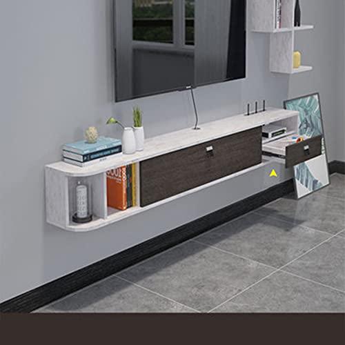 DSISI Gabinete de Almacenamiento montado en la Pared TV Flotante de Soporte de Medios, de Mesa de Entretenimiento Estante de Almacenamiento para Caja de Cable/Xbox One/DVD Player/Game Console