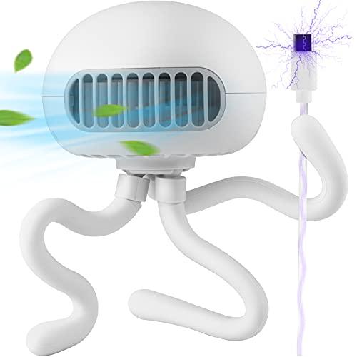 Stroller Fan Mini Handheld Fan Portable Bladeless Fan with Flexible Tripod Clip on Stroller Fan 3 Speeds Rechargeable Battery Operated Fan for Baby Stroller, Bike, Car Seat, Crib and Desktop (White)