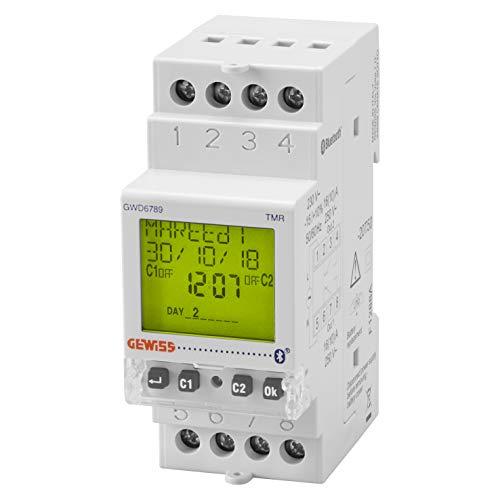 Interruptor horario y astronómico, marca GEWISS - 2 contactos NA/NC - 16A/230Vca - Bluetooth - 2 módulos DIN - reserva de carga 5 años - GWD6789